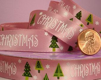 "5/8"" Christmas Tree Pink Ribbon"