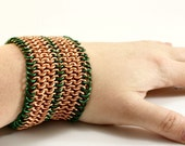 Copper & Green Chainmaille Unisex Cuff Bracelet European 4 in 1  236