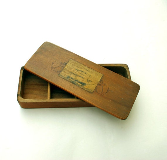 Divided Box with Lid / Vintage Nautical Jewelry Box