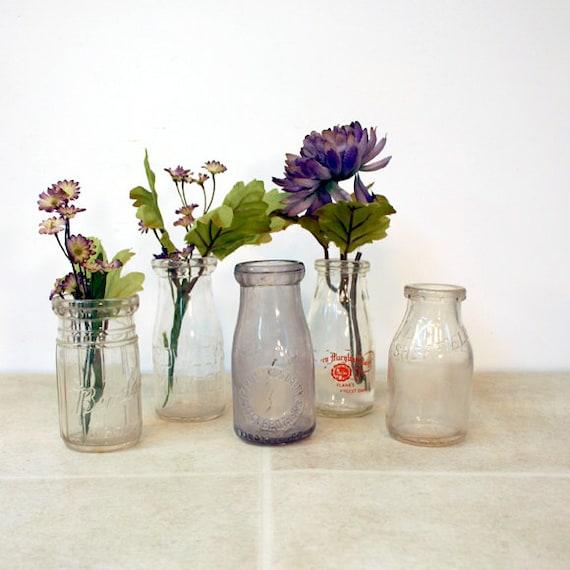 Vintage Half Pint Bottles / 5 Half Pint Milk Bottles