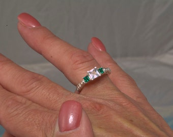 3 Stone Emerald & White Sapphire Unique Engagement or Anniversary Ring, May birthstone, Antique Ring, Victorian Ring