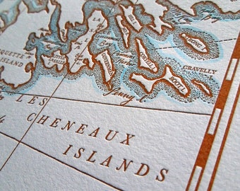 Les Cheneaux Islands, Mackinac Island, Letterpress Printed map