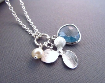 Flower Girl Necklace, Silver Orchid Charm Pearl and Jewel, Bridesmaid Necklace, Bridal Party Jewelry, Flower Girl Gift, You Choose Color