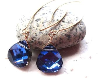 Blue earrings, blue drop earrings, Swarovski earrings, blue Swarovski long vermeil earrings, Swarovski vermeil Bali leaf earrings, handmade