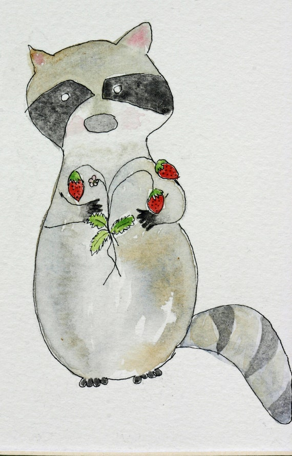 Raccoon with wild strawberries watercolor, camping, whimsical, for you, animal, children's art, matted