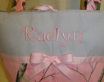 Realtree pink gray camo camouflage diaper bag -baby bag - carry all - tote bag you choose name custom handmade