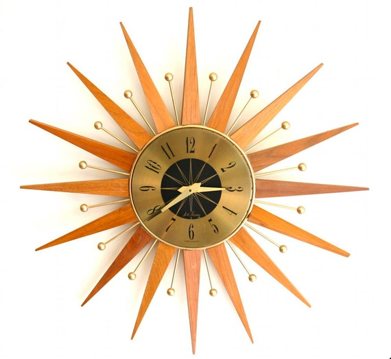 Atomic Mid Century Modern Sunburst Wall Clock