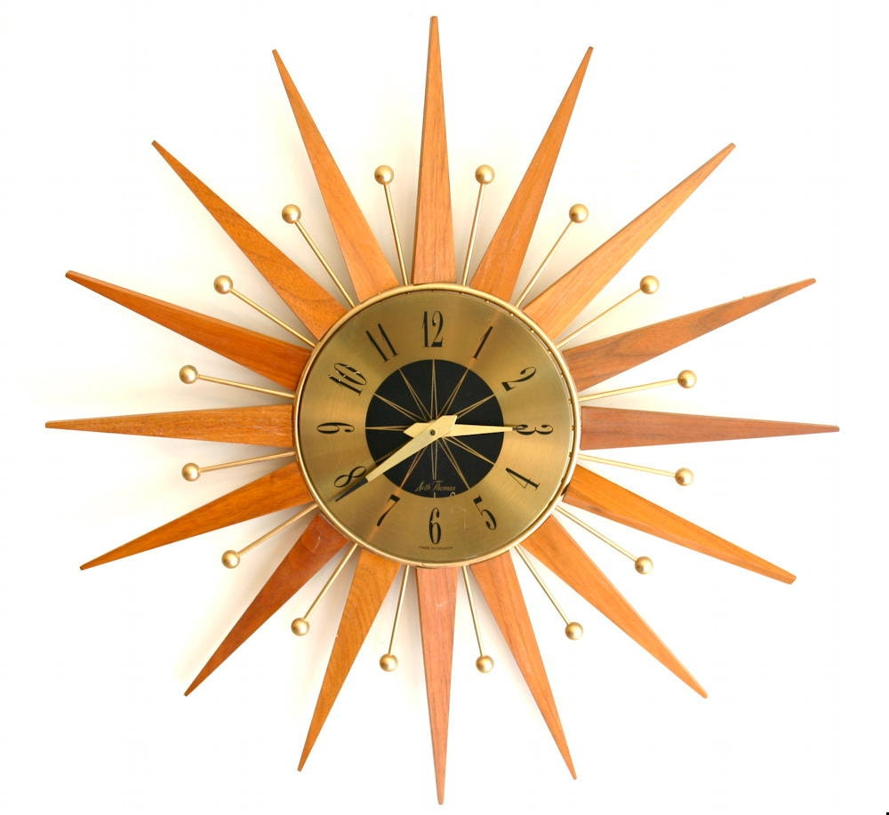 Atomic Mid Century Modern Sunburst Wall Clock 🔎zoom