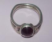 Sterling Silver Ring with Reddish Purple Stone Vintage Handmade