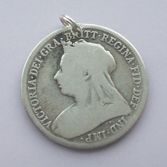 1890s Victorian Silver Coin Charm Sterling Shilling