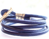 Indigo Navy Blue Leather Bracelet with Gold Toggle, Leather Wrap Bracelet, Friendship Bracelet, Wire Wrap Bracelet