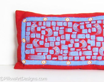 Blue and Red Linen Mini Pillow Hand Painted Abstract Mosaic Design 8 X 12 inch Made in Canada Ready to Ship