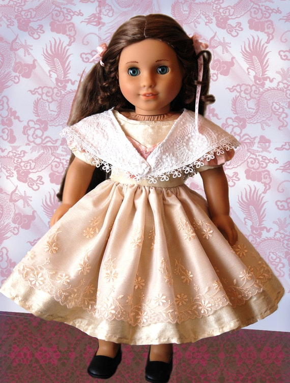 """Promenade 1850s Sewing Pattern by Dollhouse Designs for 18"""" American Girl Doll Victorian Dress & Shawl PDF DIGITAL DOWNLOAD"""