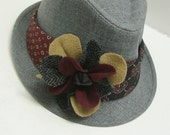 Womens Headband, Hat band,  Recycled Tie with Suitcoat flowers,black red