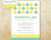 Fish on Parade Invitation - Baby Shower or Birthday - Choose your own Color - Printable