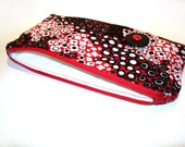 Makeup bag, cosmetic case, zipper travel pouch gadget case, red black white, makeup bag, gift for her, slim clutch