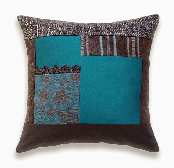 Teal Blue Chocolate Brown Accent Pillow Case OOAK 16 in IRMA DESIGN