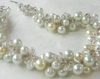 Chunky Pearl Wedding Necklace with Crystals, Cluster Twist, Ivory, White Classic Elegance, Hand Knit Original by Sereba Designs on Etsy