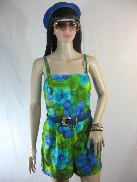 50's SWIMSUIT ROMPER Floral One Piece by Sun Fashions Hawaii S M