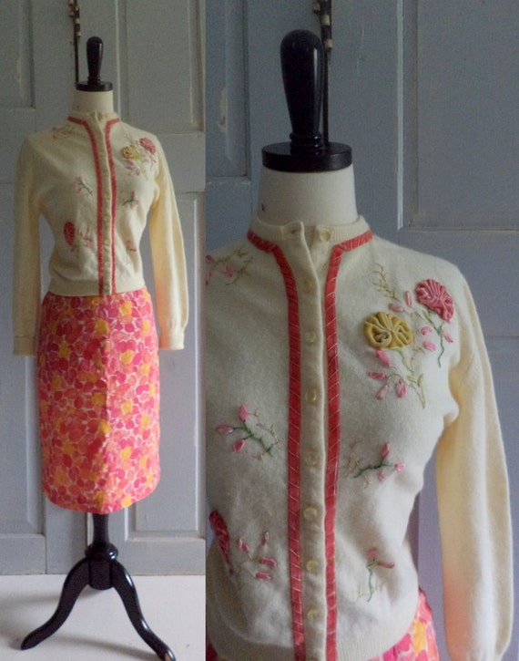 1960s Sweater and Skirt Outfit, Kitt n Gora Angora Appliqued Cardigan and Pink Silk Skirt Fitted Womens Size Small