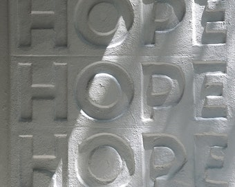 "ACEO - black and white photo of  ""hope"" in concrete -Shadows of Hope"