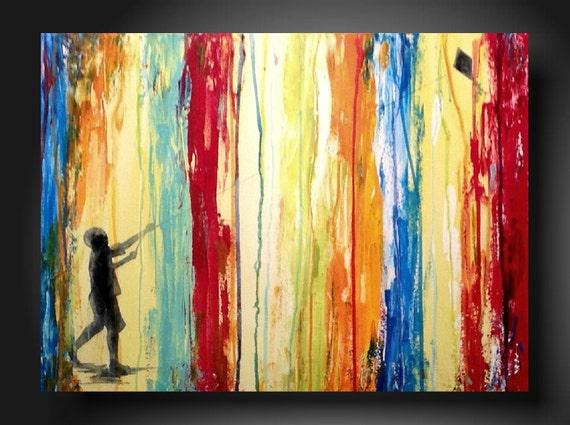 Art original Abstract painting  JMJARTSTUDIO Original Painting 18 X 24 Inches-------Aware --------