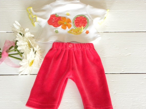 Bright Velour Pants and Fruit Tshirt - 12 inch doll clothes