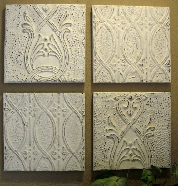 "ALL 4 Antique Ceiling Tin Tiles. Circa 1910. Shabby Off-Whites.  Each tile measures 11 "".  FRAMED and ready to hang."