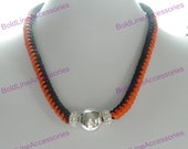 """19"""" Long Hand Knotted Necklace w/pave and sterling silver beads"""