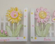 Pink and yellow flowers on white polka dot bookends with a butterfly and a caterpillar,personalized gift,girls bookends,kids bookends,flower