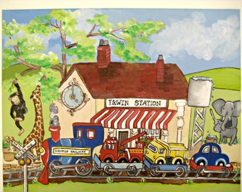 personalized customized painting,train,train station,train station painting,personalized wall art,boys wall art,train wall art,childrens art