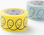 On Sale - mt x mina perhonen 2012 Autumn - Japanese Washi Masking Tape / Light Blue or Yellow Smile Loops