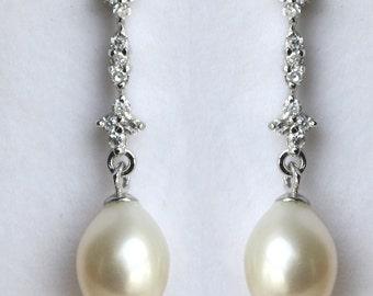 Freshwater pearl Bridal Earrings Crystal Wedding  - Kaley