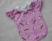Little Lamb Baby Toddler Girl Long Pull-Over Reversible Bib, Pink Black White