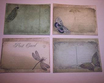 Vintage Postcard Journaling Tags set of 8