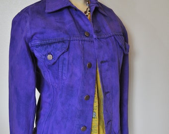 Mens Small Denim JACKET - Violet Blue Hand Dyed Upcycled Repurposed Mr. Leggs Denim Trucker  Jacket - Adult Teen Mens Small (37/38 chest)