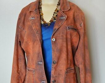 Orange Jr. XL Denim JACKET - Rustic Orange Hand Dyed Upcycled Arizona Denim Blazer Jacket - Adult Womens Juniors Extra Large (40 chest)