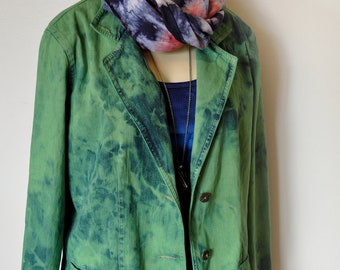 Green Small Denim JACKET - Kelly Green Hand Dyed Upcycled TY Wear Denim Blazer Jacket - Adult Womens Size Small (42 chest)