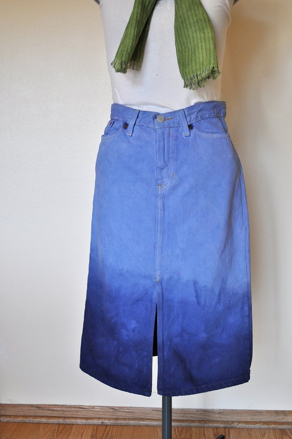 Blue Sz 4 Denim Jean SKIRT - Hand Dyed Light Blue & Navy Blue Ombre Style Upcycled Vintage GAP Denim Pencil Skirt - Adult Womens Size 4 (30)