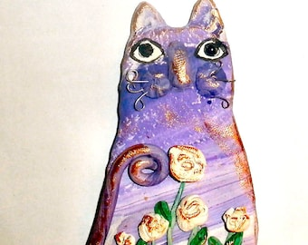 Purple Tabby Cat polymer clay with white roses