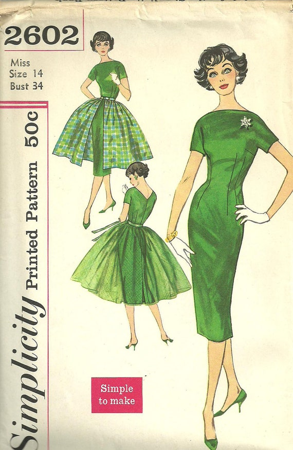 Vintage Fifties Sewing Pattern from Simplicity 2602