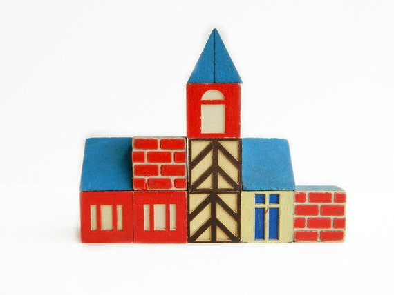 Scandinavian cottage style house wood building blocks 12 pieces