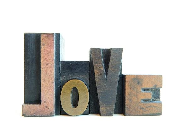 Vintage Letterpress Type love Printers Blocks