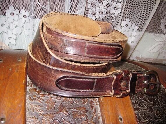 Sale/Vintage Old Leather Split Strap Belt/Brown Leather Belt/Removable Brass Plated Buckle
