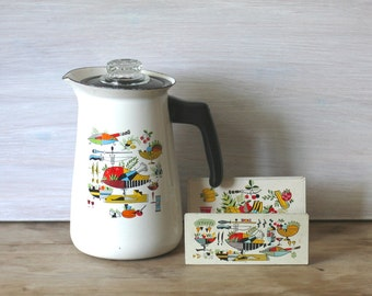 Mid Century Kitsch Enamel Coffee Pot And Napkin Holder Set
