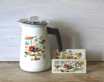 Mid Century Kitsch Enamel Coffee Pot And Napkin Holder Set