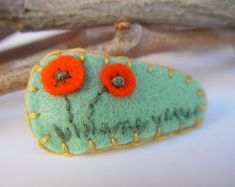 Tumbleweed Kids eco friendly embroidered felt hair clip, little poppies