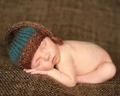 Newborn Baby Hat. Variegated Tones, Short Tail Knotted Elf Hat, Photography Prop