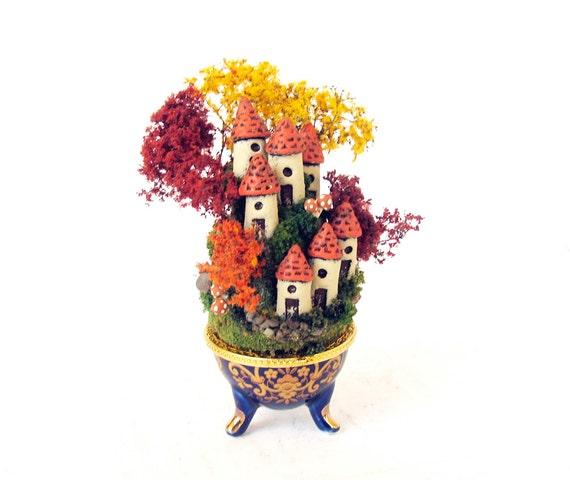 Miniature Autumn French Fairy Houses on the Hill No. 4 - Blue Porcelain Vessel with Landscaped Fairy Hamlet and Fall Color Trees