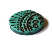 Carved turquoise cabochon ethic tribal motives faux turquoise